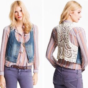 Free People Denim Vest with Lace Backing